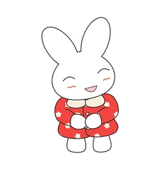 Cute cartoon bunny girl in a pretty pink dress vector