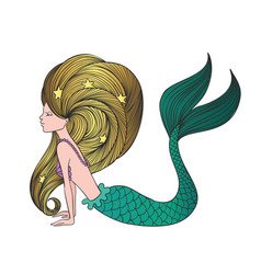 Cute hand drawn young mermaid vector