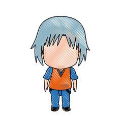 Cute little boy anime faceless color image vector