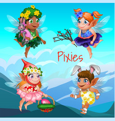 Cute poster with little flying pixies vector