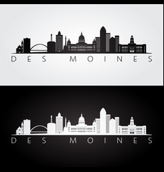 Des moines usa skyline and landmarks silhouette vector