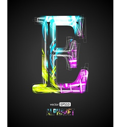 Design Light Effect Alphabet Letter E vector image