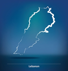 Doodle Map of Lebanon vector image