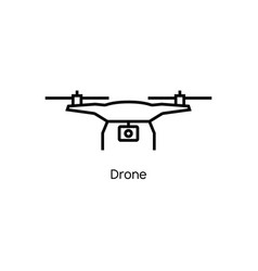 drone icon line quadcopter logo vector image