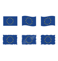 european union flag flag set eu vector image