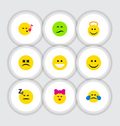 flat icon face set of angel cross-eyed face joy vector image
