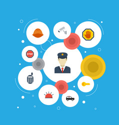 Flat icons hardhat policeman walkie-talkie and vector