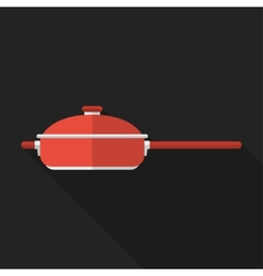 Flat pan with long shadow icon vector image