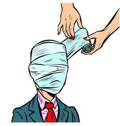 Fully bandaged head medical trauma vector