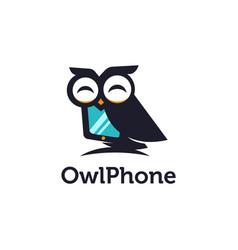 Fun mascot owl phone logo icon template vector