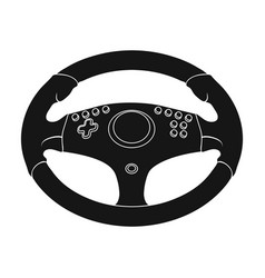 Game steering wheel single icon in black style for vector