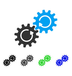 gear mechanism rotation flat icon vector image