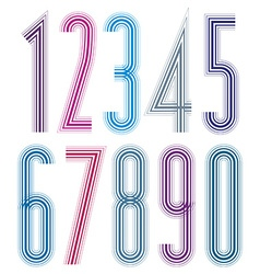 Geometric bright decorative tall striped numbers vector