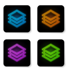 Glowing neon layers icon isolated on white vector
