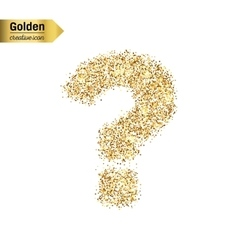 Gold glitter icon of question mark isolated vector