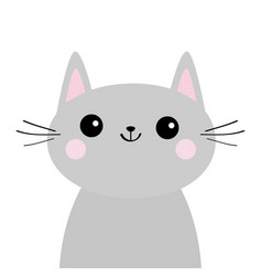 Gray cat face silhouette cute cartoon kitty vector