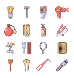 Hairdresser icons set cartoon style vector