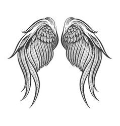 hand drawn wings tattoo vector image