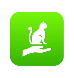 hand holding a cat icon digital green vector image