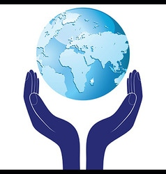 Hands holding a blue earth hope save planet vector