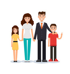 Happy family father mother son and daughter vector