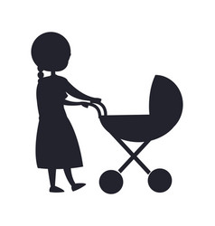 happy grandparent senior lady with trolley pram vector image