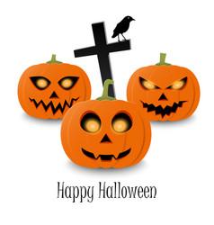 Happy halloween typographic text and orange vector