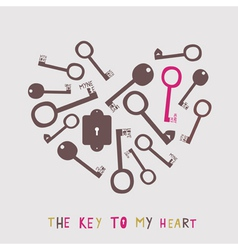 Heart from the stylized keys vector