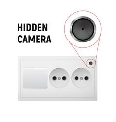 Hidden camera in an electrical outlet vector