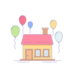 home baloon line icon or logo vector image