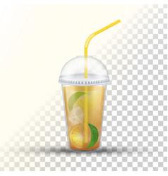 Ice tea plastic takeaway 3d cup vector
