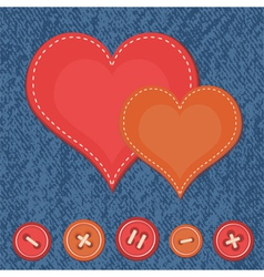 Jeans background with two hearts vector image