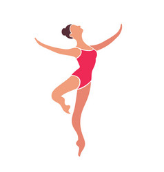 jumping ballerina in red leotard isolated on vector image