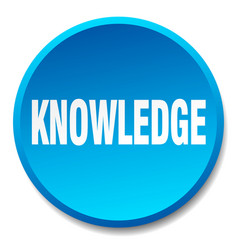 Knowledge blue round flat isolated push button vector