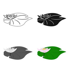 Lotus icon in cartoon style isolated on white vector
