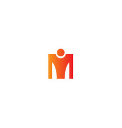 m initial person sign logo vector image