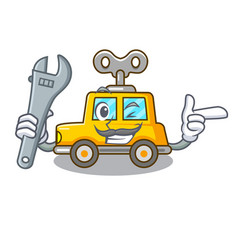 Mechanic clockwork toy car isolated on mascot vector