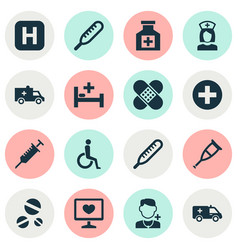 Medicine icons set collection of peck cure vector