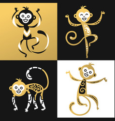 monkey chinese style vector image