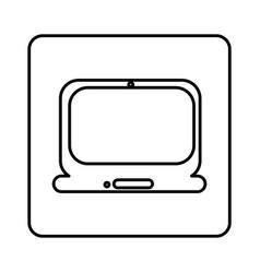 monochrome contour square with laptop computer vector image