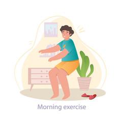 Morning exercises concept vector