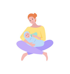 mother feeding baby woman with newborn child vector image