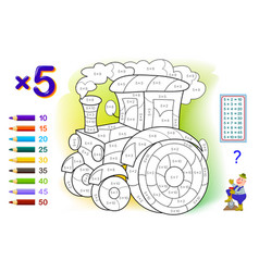 multiplication table 5 for kids math education vector image