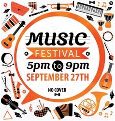 Music festival music flyer vector