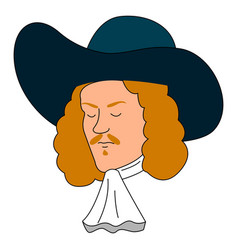 Musketeer with blue hat on white background vector