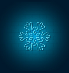 New year snowflake neon sign vector