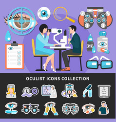Oculist test banners icons vector