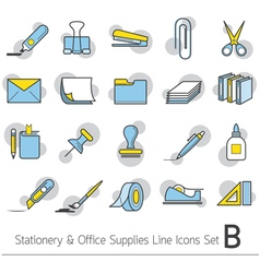 Office Supplies and Stationery Linear Icons Set vector image