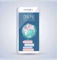 Online education on mobile screen vector