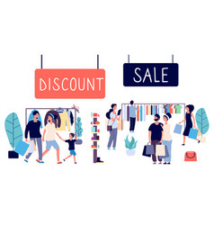 Open sale shopping people discount mall flat vector